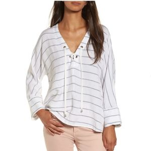 Rails Lily positano stripe lace up top